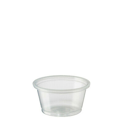 5000x Clear Plastic Portion Cup Round 22mL Disposable Condiment Sauce Sample NEW