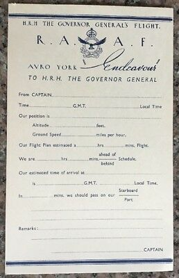 "RAAF . Governor Generals Flight Sheet, AVRO York, ""Endeavour"", 1947"