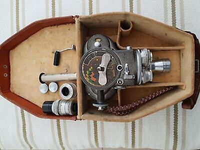 Emel Model C 93 Camera cinema 8mm. With 5 lenses, Case. Great Condition