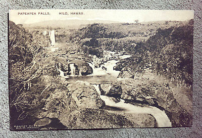 antique ALBERTYPE HAWAIIAN POSTCARD ERNEST MOSES PHOTO PAPEAPEA FALLS HILO