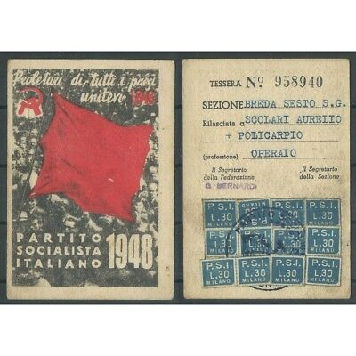 CARD PSI YEAR 1948 / SOCIALIST PARTY ITALIAN section BREDA / 6TH MF42826