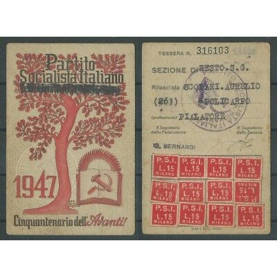 CARD PSI YEAR 1947 / SOCIALIST PARTY ITALIAN sixth section S.GIOVANNI MF42825