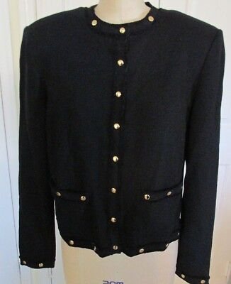 St John Collection Black SNAP TRIM JACKET Marie Gray Sz M Santana Knit Gold Trim