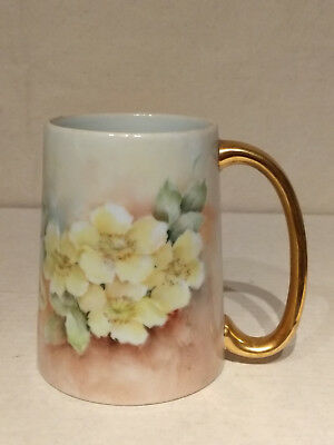 Hand Painted FLORAL Porcelain CIDER MUG Cocoa Tankard Beer Stein E SWIFT Signed