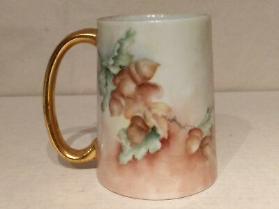 Hand Painted ACORNS Porcelain CIDER MUG Cocoa Tankard Beer Stein E SWIFT Signed