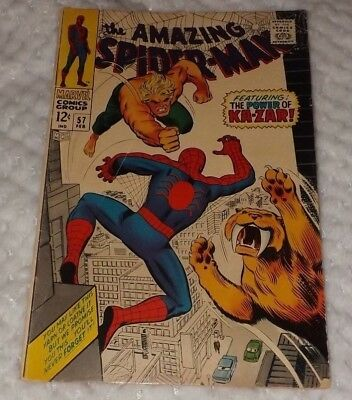 The Amazing Spider-Man # 57 1968 Gd/vg 3.0 Silver Age Featuring Ka-Zar