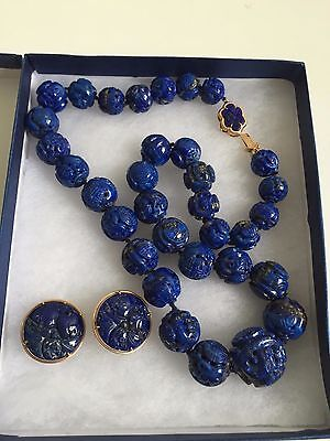 14K Gold Antique Chinese Carved Lapis Lazuli  Bead Necklace And  Earrings