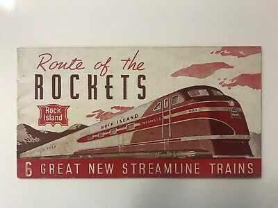 Rock Island Route Of Rockets Vintage Streamline Railroad Train Rare Brochure