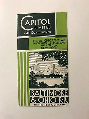 1934 Capitol Limited  B&o Baltimore Ohio Vintage Railroad Rare Train Brochure