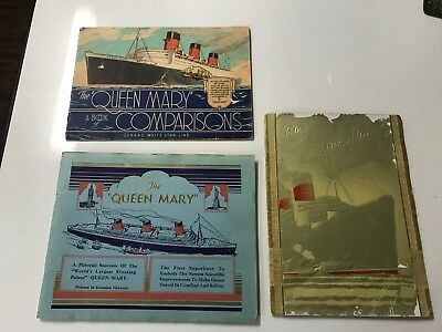 Queen Mary Cunard White Star Maiden Voyage Ship Boat Brochure Collection Lot