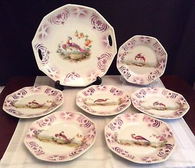 O.G. German Vintage Cake Plate & Dessert Dishes Hand Painted With Stars & Birds