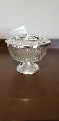 Crystal And Silver Plate Rose Bowl