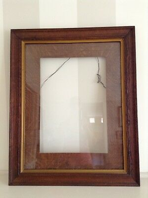 Antique Large Solid Timber Photo/picture Frame With Timber Mount And Gold Trim.