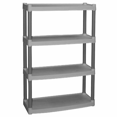 4-Tier Storage Shelves Organizer Garage Shelving Unit Rack HeavyDuty Plastic New