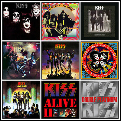 "KISS album discography magnet (3.5"" x 3.5"") aerosmith ac/dc metallica sabbath"