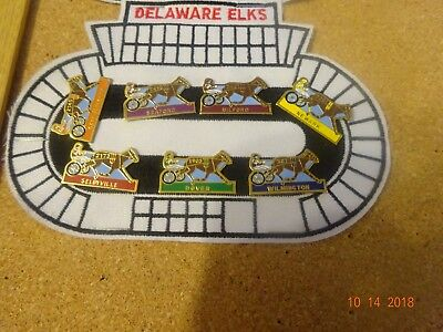 BPOE ELKS 7 Pc 1999 Delaware Racing Surrys Pins on Cloth Patch