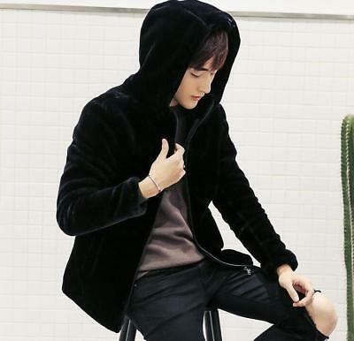 chic new Winter Mens Faux Fur Warm Cotton Padded Hooded Casual Outwear