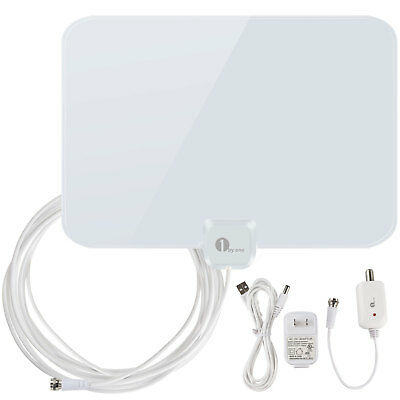High Gain Low Noise Indoor Digital Amplified HDTV TV Antenna 50 Miles 20FT Cable
