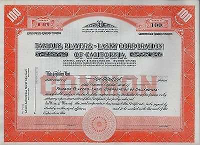 Famous Players - Lasky Corporation of California (Paramount) 19XX (Blankette)