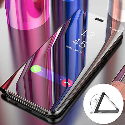 For iPhone X XS Max XR Clear View Mirror Leather Slim Flip Stand Case Full Cover