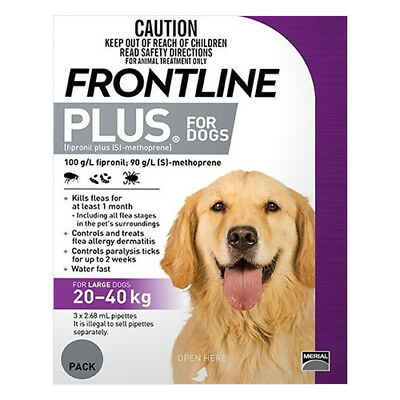 Frontline Plus for Dogs 20-40 kgs PURPLE Fleas Ticks ALL SIZES $$ REDUCED $$