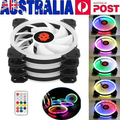 3-Pack RGB LED Quiet Computer Case PC Cooling Fan 120mm with Remote Control AU