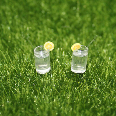 2PCS Miniature Lemon Water Cup For 1:12 Dollhouse Toy Accessory