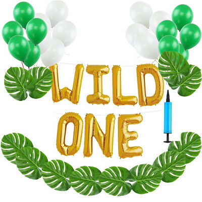 16 WILD ONE Kids First Birthday Balloons Baby Girl Boy 1St Bday Party Supplies
