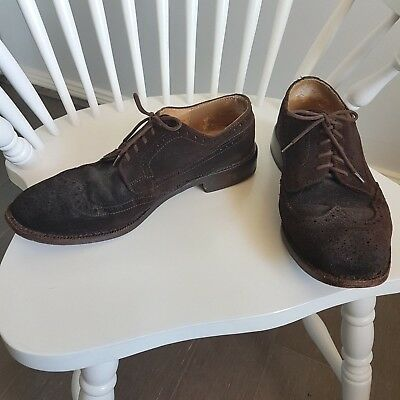 Vintage Mens Dark Brown Suede Leather Dress Shoes Wingtip Brogues Business Sz 10
