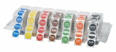 "DayMark Day of the Week 3/4"" Circle Permanent Labels, MON-SUN, Label Dispenser"