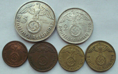 Germany 5 Mark 1937 Lot of 6 coin withswastika