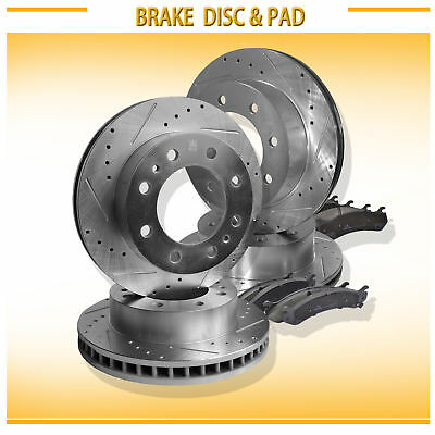 FF 2 Disc 4PADS|295mm Front Drilled Slotted Brake Rotor /& Pads fit Chevy GMC
