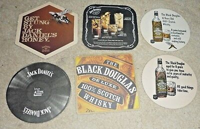 Collectable whiskey coasters - Set of 6 Jack Daniels & Black Douglas  coasters
