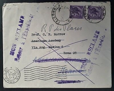 "SCARCE 1953 Italy Cover ""Unclaimed"" ties 2 stamps to Rome & Monaco"