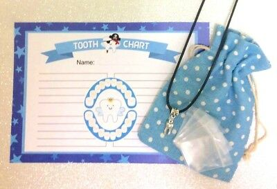 Tooth Fairy lost Tooth set-Certificate*Pouch*Pendant*Mini Tooth storage bags