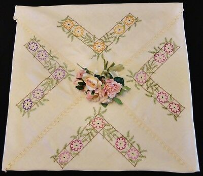 Vintage Hand Embroidered Cloth Daisies Design