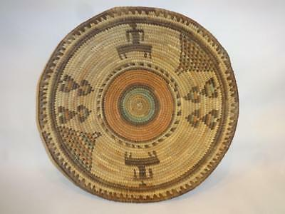 """Old Hand Made Hausa Nigeria Africa Native Hand Woven Shallow Basket 13"""" Diameter"""