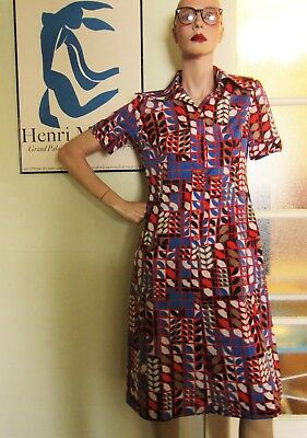 Vintage Abstract/ Botanical Print Button Front Dress, Small, 1970's, Red, Blue