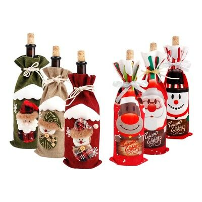 Red Wine Bottle Cover Bags Snowman Santa Claus Christmas Decoration Sequins SL