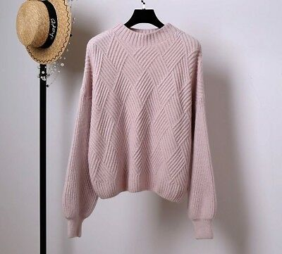 Knitted Sweater Winter Autumn Women Sleeve Thick Pullovers Ladies Casual Solid
