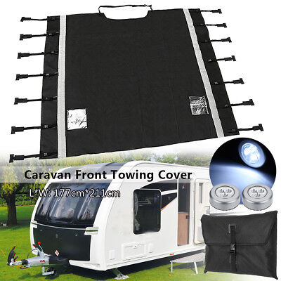 Universal Caravan Front Towing Waterproof Cover Protector w/ Two Free LED Lights