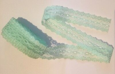 Opal Sparkle Eyelet Knitting Lace / 4m X 35mm Mint / Baby Green