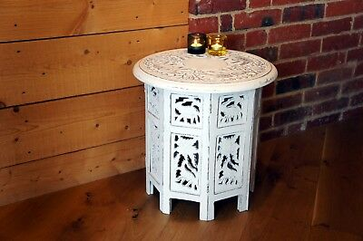 Octagonal Elephant Design Coffee Side Table Hand Carved Mango Wood Shabby Chic