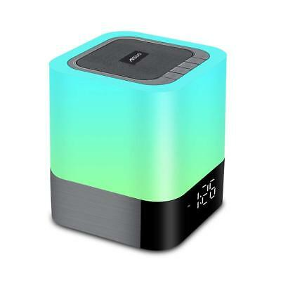 Aisuo Night Light - 5 in 1 Bedside Lamp with Bluetooth Speaker, 12/24H Digital