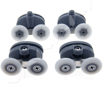 4PCS Twin Top Butterfly Shower Door Rollers Top & Buttom Runners 23mm Wheels