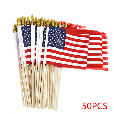 00ed68da40f0 50x American USA National Hand Held Flags Small Poles Patriotic For July  4th 4x6