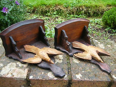 2 Reclaimed Rare Small Black Forest Carved Wall Brackets Corbel Bracket