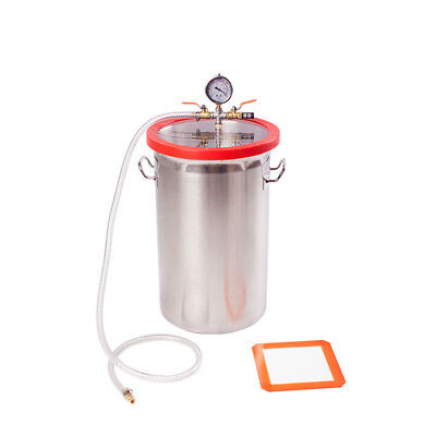7 Gallon 280MM*450MM Height Stainless Steel Vacuum Degassing Chamber Acrylic Lid