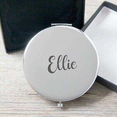 Personalised Rose Gold OR Silver Compact Mirrors For Women Engraved Name Her Mum