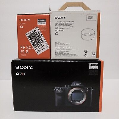 Sony Alpha A7R2 A7R II 42.4MP Camera with FE 50mm F1.8 + 3 Ex Batteries